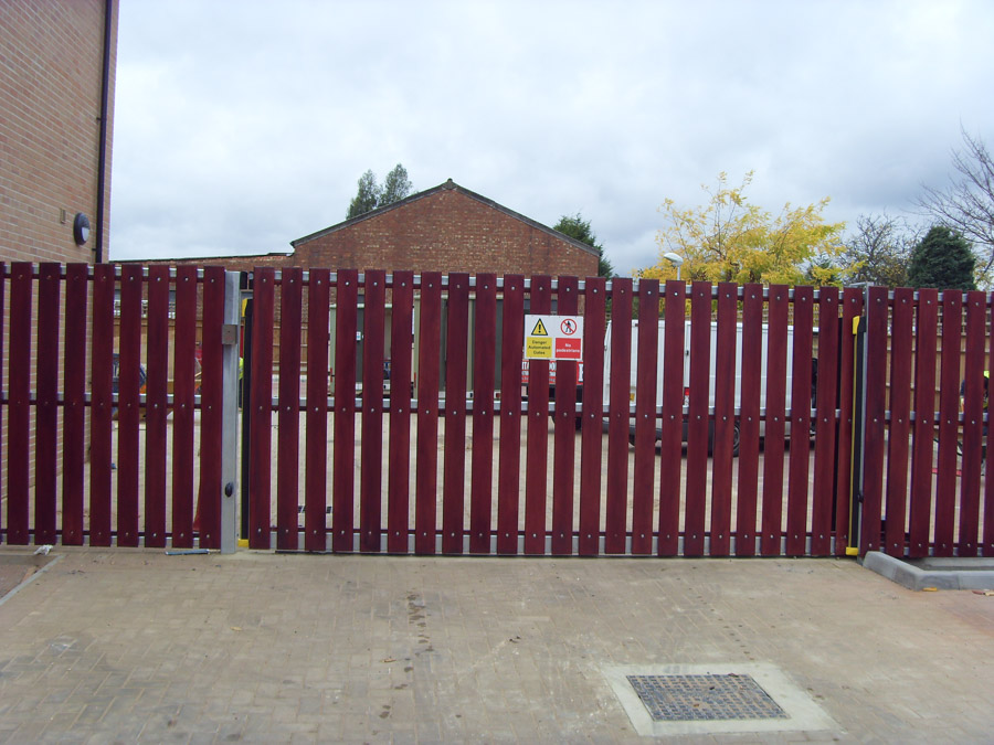 Commercial Estate wooden panel on steel frame gate